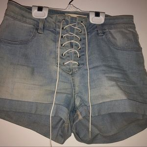 Pac sun denim Lace up shorts